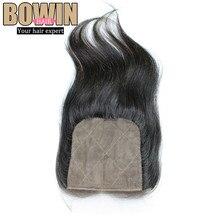 Grade 6A Silk Base Closure Peruvian Virgin Hair Straight Middle Part Closure Natural Color Tangle Free