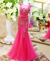 Custom Made New Design Sexy Mermaid Evening Dress 2015 Tulle Lace Beading Kaftan Dress Party Evening