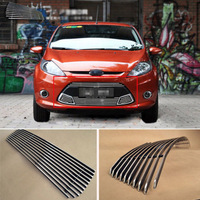 Alloy Aluminium Front Center Racing Mesh Bumper Grills Billet Grille Cover For Ford Fiesta 09 12