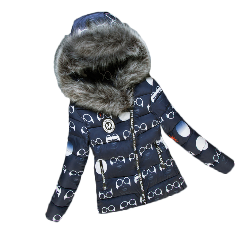 Women Winter Jacket Parkas Cotton Fur Collar Cute Glasses Printed Pattern Warm Outwear Hooded Padded Coats Female Fashion Jacket winter jacket female parkas hooded fur collar long down cotton jacket thicken warm cotton padded women coat plus size 3xl k450