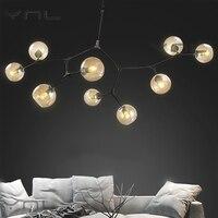 Современные Стекло мяч ветвления пузырь кулон Люстры для Обеденная Гостиная люстра Освещение блеск E27 светодиодные лампы