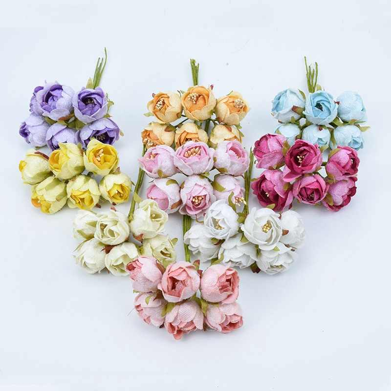 6pcs Silk tea buds roses bouquet christmas wreaths diy gifts box stamen fake plants artificial flowers for wedding home decor