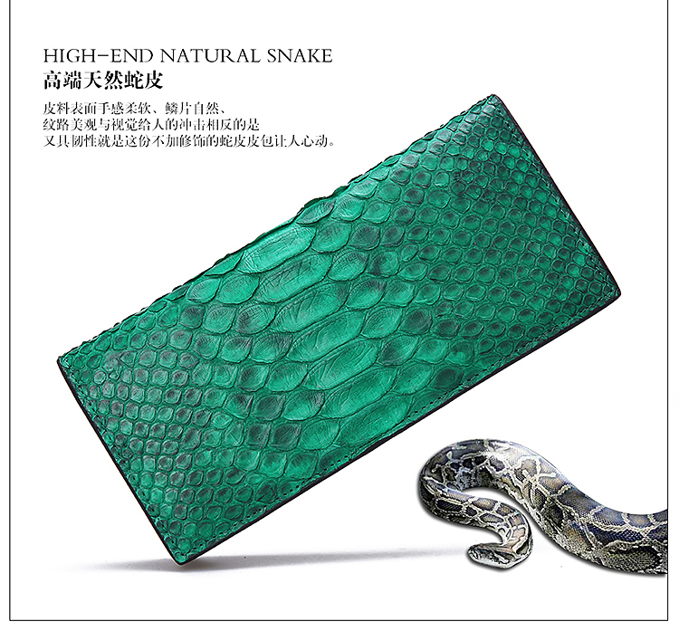 100%  Genuine/Real python skin leather long women wallets and purse, Green real 100