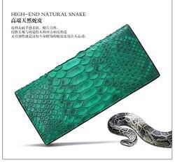 100% echtes/Real pythonleder lange frauen brieftaschen und geldbeutel, grün