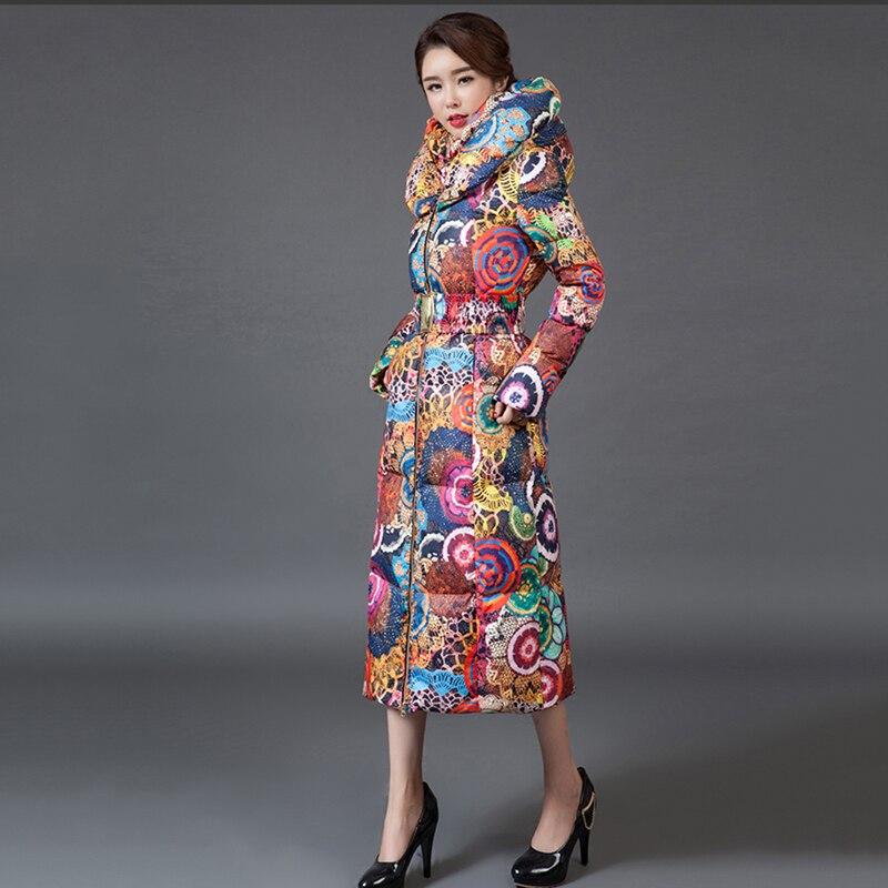 Femmes Réels À Long Impression Col Debout Veste Parka 2018 Nouveau Manteau D'hiver Épaissir Chaud Grande Taille 3xl Femelle Survêtement No471