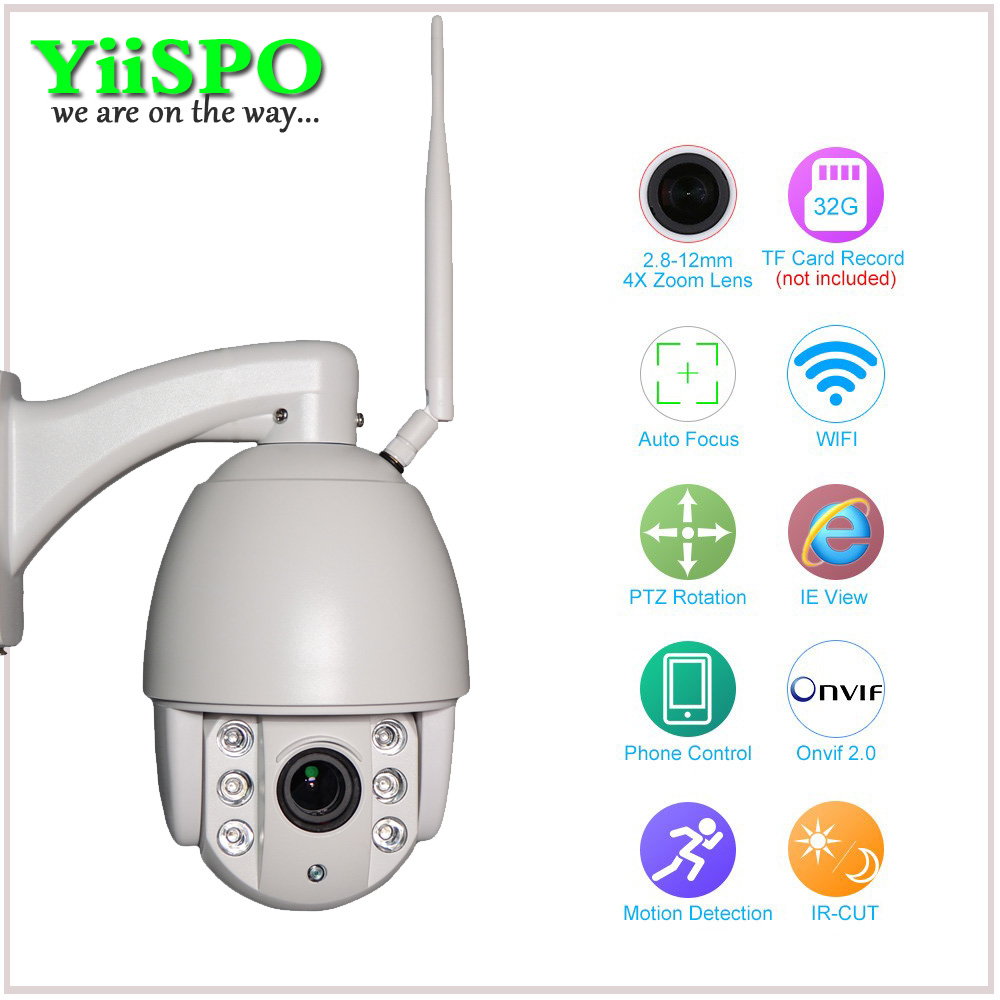 YiiSPO Wireless PTZ Dome IP Camera Outdoor 720P 1080P FULL HD 4X Zoom CCTV Security Video Network MINI WIFI IP Camera ysa 3g 4g wireless ptz dome ip camera outdoor 1080p hd 5x zoom cctv security video network surveillance security ip camera wifi