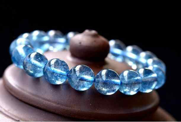 Jewelry Pearl Bracelet Natural Blue Aquamarine Gemstone Stretch Round Beads Bracelet 10mm  Free Shipping