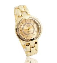 En gros De Mode Or & Argent Montre Femmes Dames Femelle Cristal Robe Quartz Bracelets TW054