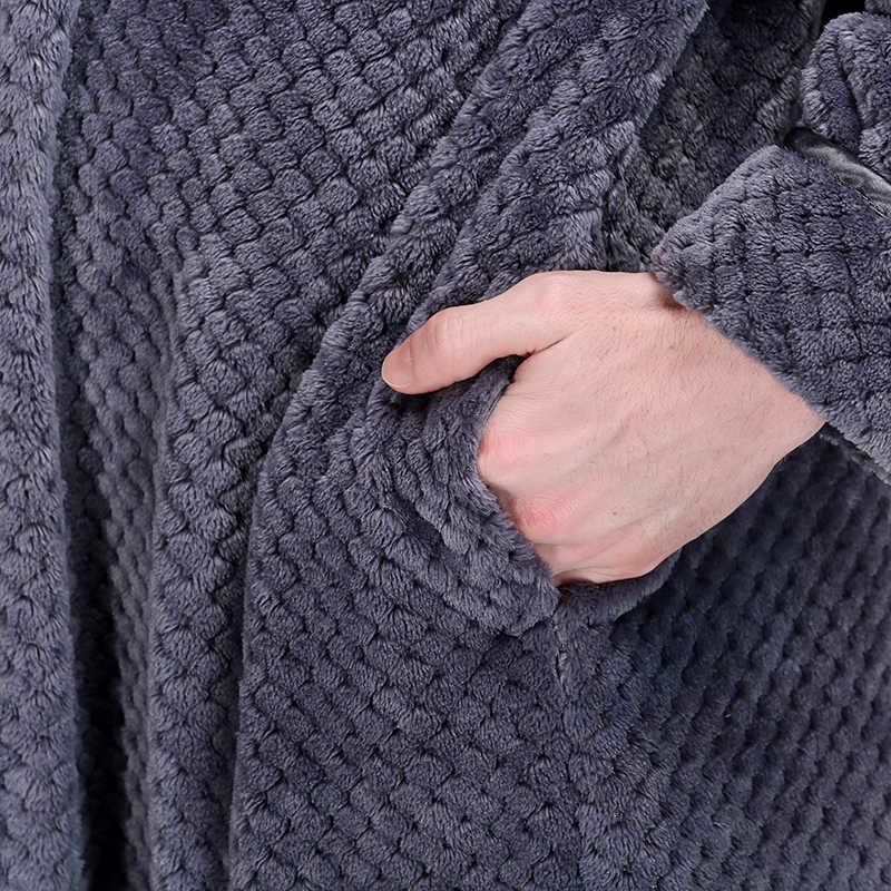 男性エクストラロング熱フランネルバスローブジッパープラスサイズ厚く暖かいサンゴフリースバスローブ女性メンズドレッシングガウン冬ローブ