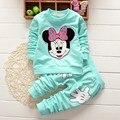 Nova chegada 2015 meninas primavera coreano algodão Minnie roupas dos desenhos animados, T camisa + calças 2 Pcs terno navio livre