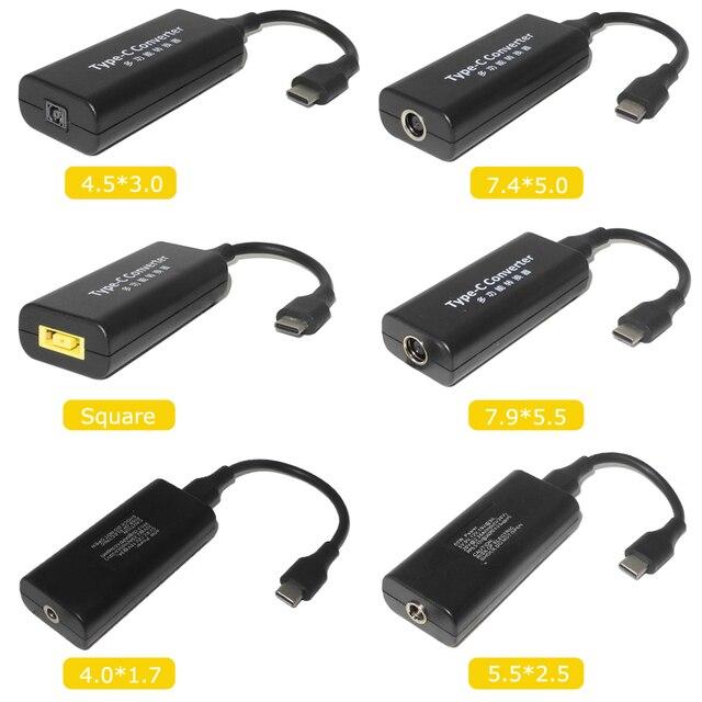 แล็ปท็อปช่องเสียบสายไฟ DC ADAPTER ADAPTER Charger สำหรับ Lenovo HP Asus 7.4*5.0 7.9*5.5 มม.หญิง USB Type C อะแดปเตอร์ชาย
