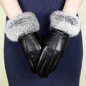 Women's Sheepskin Gloves Genuine Leather Fashion Wrist Rabbit Hair Driving Gloves Winter Keep Warm Plus Velvet WF1605 genuine leather gloves men winter warm plus velvet thick sheepskin fashion new driving leather gloves gr 206 5
