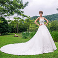 Elegant 2016 Bridal Gowns Beautiful Court Train Dress Beading Crystal Embelishment Wedding Dress Custom Made Vestido De Noiva
