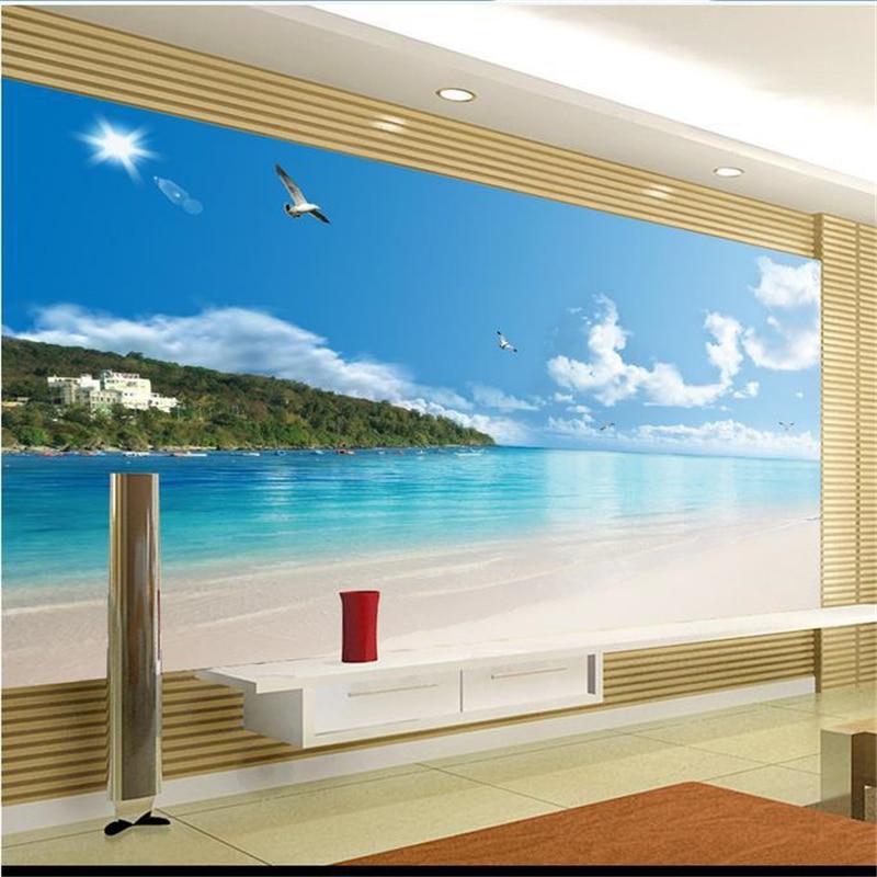 beibehang 3d stereoscopic sea murals Europe TV backdrop wallpaper living room bedroom papel de parede wall paper