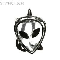 STANCHION Women Backpack Crystal Transparent Alien Head Portrait Smiling Face Triangular Shaped Shoulder Bag For Geenage Girls