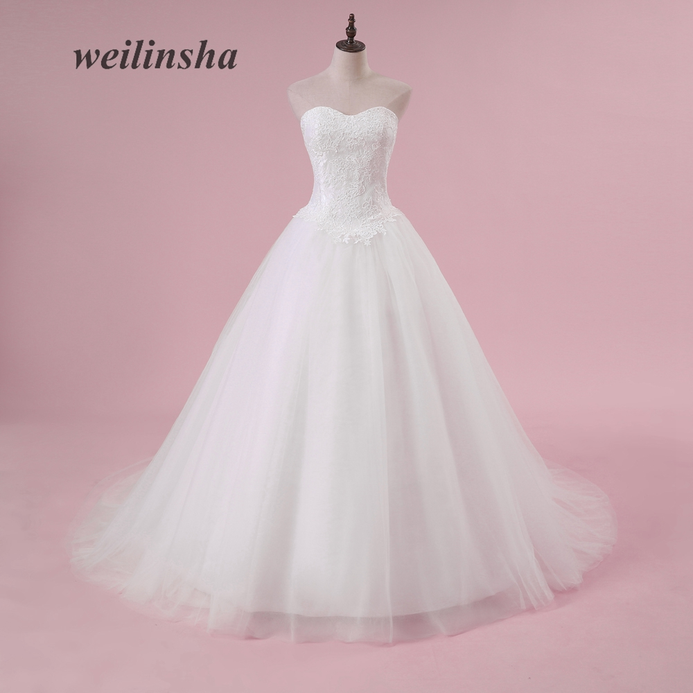 weilinsha Plus Size Ball Gown Wedding Dresses Romantic Strapless Tulle Sweep Train Lace Appliques Custom Made Vestido de Noiva