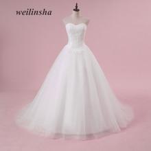 weilinsha Plus Size Ball Gaun Wedding Dresses Tak bertali bahu Romantik Tulle Sapu Kereta Api Renda Appliques Custom Made Vestido de Noiva