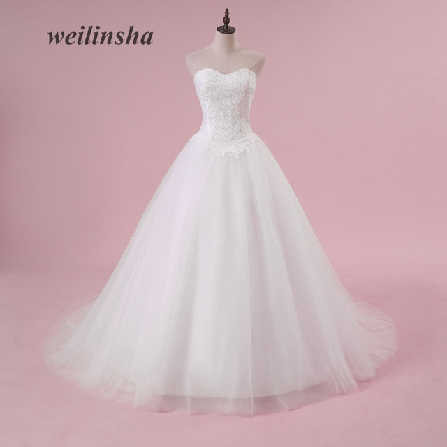 weilinsha Plus Size Ball Gown Wedding Dresses Romantic Strapless ...