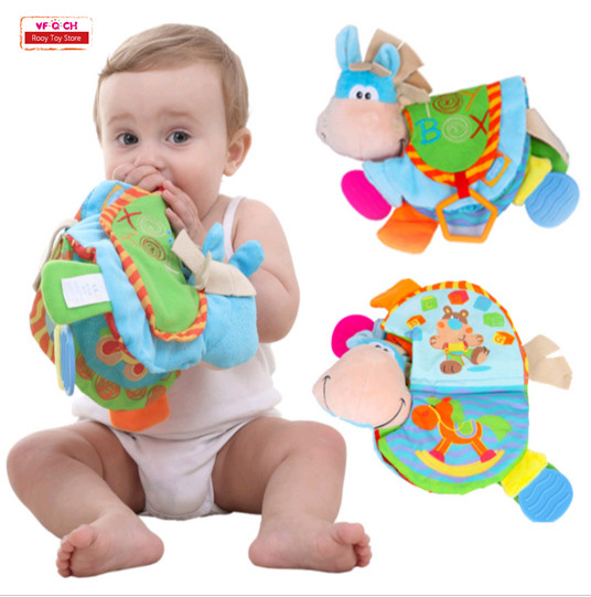 Cloth Books Rattles Teeth Toys Cute Donkey Animal Infant Educational Stroller New Born Baby Book For 0-12 Months Baby Gift