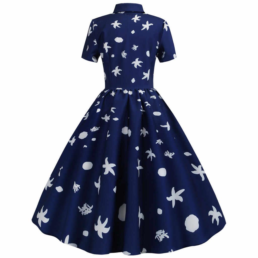 Модное женское платье с цветочным принтом, короткий рукав, отложной воротник, винтажное летнее платье, халат femme, цветочный принт, vestidos de verano шифон