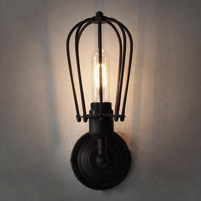 Pendant Light Loft Bar Nordic Classic Black Bulb Wire Lamp Cage DIY Wall  Lamp Industrial Guard