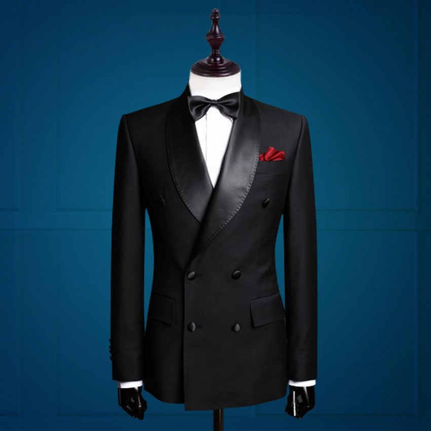 新郎タキシードダブルブレスト介添人スーツカスタムメイド男スーツテーラードスーツビジネススーツ(ジャケット+パンツ)ブラックホワイト色