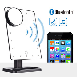 Bluetooth Динамик LED Сенсорный экран Макияж зеркало с 10X Лупа 20 светодиодов освещенные Регулируемый косметическое настольное зеркало