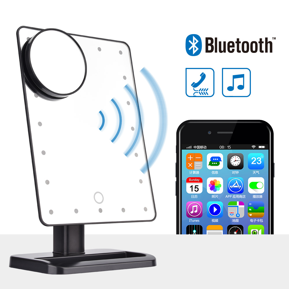 Bluetooth Speaker LED Touch Screen Makeup Mirror with 10X Magnifier 20 LEDs Lighted Cosmetic Adjustable Vanity Tabletop Mirror
