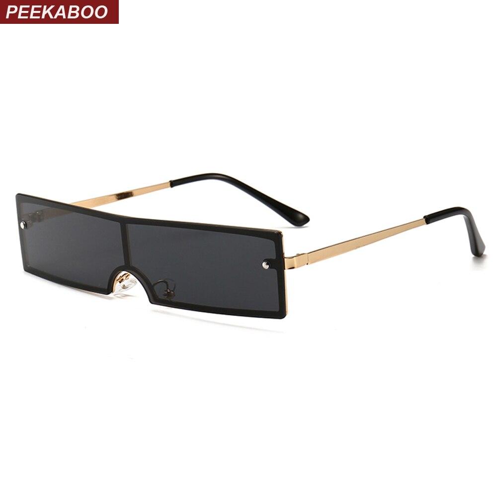 c245e4bfa7d1c Peekaboo pequeno estreito retângulo óculos de sol dos homens preto 2019  armação de metal one piece praça óculos de sol para as mulheres retro  vermelho ouro ...