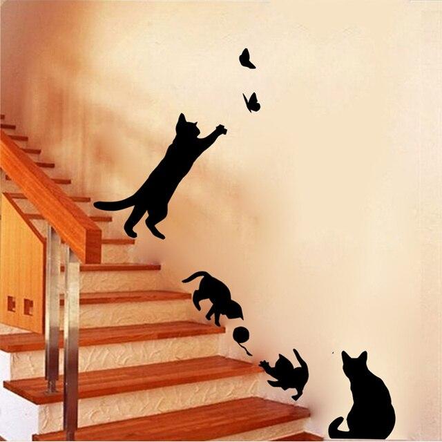 Aliexpresscom  Buy Hot Sale Cat Play Wall Sticker Butterflies - Wall decals butterflies