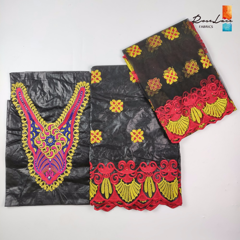 Black And Red Color African Bazin Riche Fabric With Net Lace Beads And Stones Design Nigerian