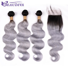 BEAUDIVA Brazilian Hair Weave Bundles Body Wave 100% Human Hair 2 Or 3 Bundles With Closure TB Gray Color Hair Extensiont(China)