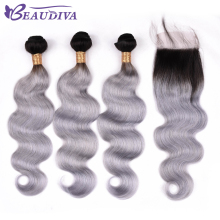 BEAUDIVA Brazilian Hair Weave Bundles Body Wave 100% Human Hair 2 Or 3 Bundles With Closure TB Gray Color Hair Extensions