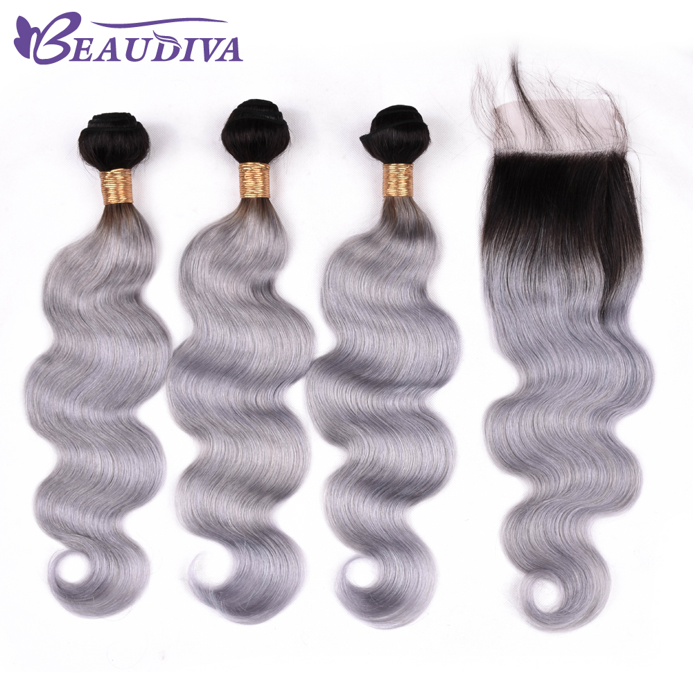 BEAUDIVA Brazilian Hair Weave Bundles Body Wave 100% Human Hair 2 Or 3 Bundles With Closure TB Gray Color Hair Extensiont