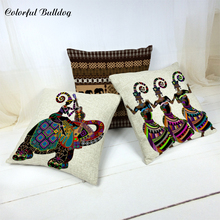 African Woman Cushion Cover Brand Indian Totem Elephant Decorate Home Backyard Pillows Car Seat Cover 45*45 Woven Linen Sofa