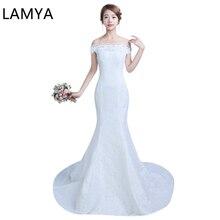 LAMYA Fashion Boat Neck Mermaid Wedding Dresses 2019 Vintage Turmpet Bride Gown Dresses Fashion robe de mariage