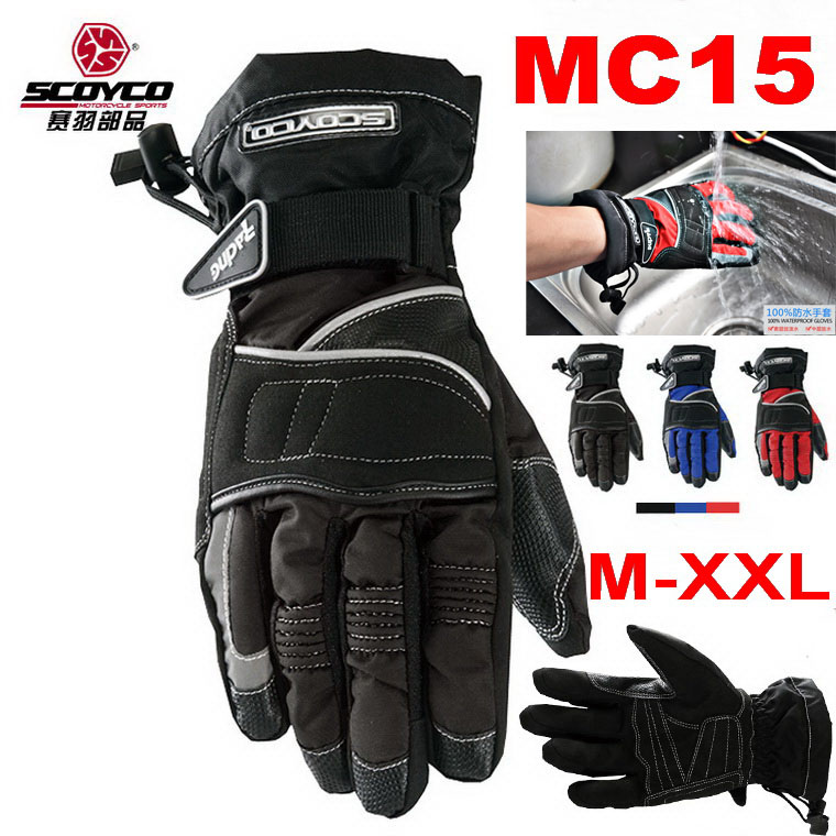 Fashion 100% waterproof SCOYCO MC15 <font><b>protective</b></font> <font><b>Motorcycle</b></font> <font><b>Racing</b></font> <font><b>gloves</b></font> off-road motorbike <font><b>glove</b></font> Black blue <font><b>red</b></font> <font><b>size</b></font> M L <font><b>XL</b></font> XXL