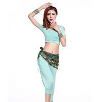 2017 Women Belly Dance Costumes Set 2Pcs 3Pcs Top Pant Belt Modal Bollywood Genie Costume Professional Clothing For Dance FF6106