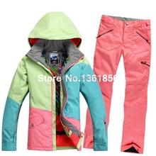 2014 Pop Sale Cowboy Lady Women Ski Suit Colorful Match Snowboard Warm Ski Jacket+Pants Windproof Waterproof Ski Sets