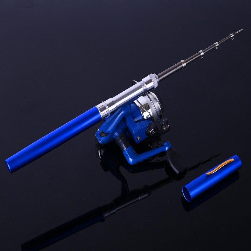 Ice Fishing <font><b>Rod</b></font> combo Mini Shape Portable Pocket Fly Fishing <font><b>Rod</b></font> Telescopic Winter Fishing <font><b>Rod</b></font> Mini Pen <font><b>rod</b></font> with Spinning reel