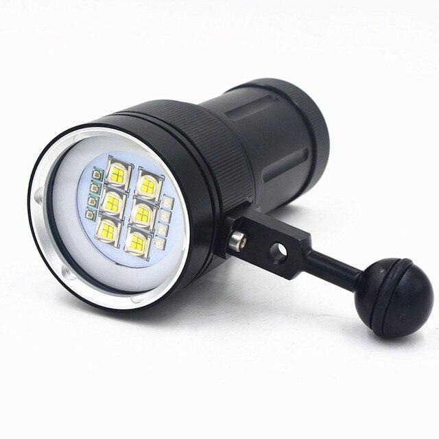 Новейший светодио дный 9090 люмен 6x20000 светодиодный Белый свет + 4x красный свет + 4x УФ светодио дный-свет светодиодный фонарь подводный видео Дайвинг фонарик лампа