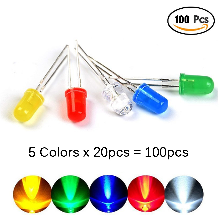100Pcs/lot 5MM LED Diode Light Assorted Diy Kit Mixed Color Red Green Yellow Blue White 5 Colors Each 20pcs  Electronic Diy Kit