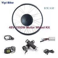 48V 1500W Rear Motor Wheel Electric Bike Non gear DC Motor Brushless Motor Controller LCD Display Aluminum Alloy Throttle kit