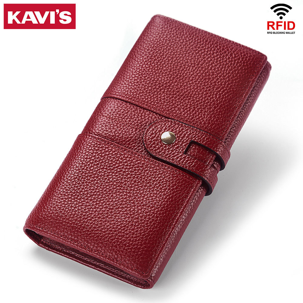 Quality Cowhide Leather Refid Women Long Wallet Fashion Casual Lady Leather Handbag Quality Genuine Leather Red Women Wallet