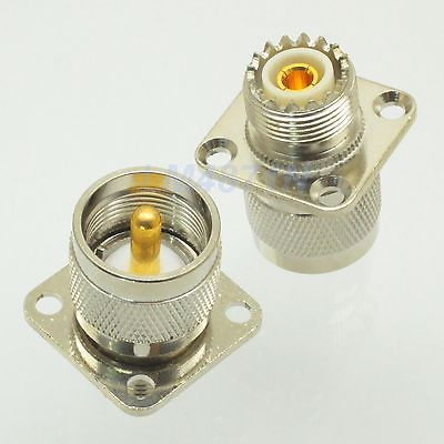 1xAdapter UHF female SO239 to PL259 male 25.4mm flange panel mount connector F/M areyourshop sale 10pcs adapter uhf female to so239 jack 25 4mm flange panel mount rf connector f f