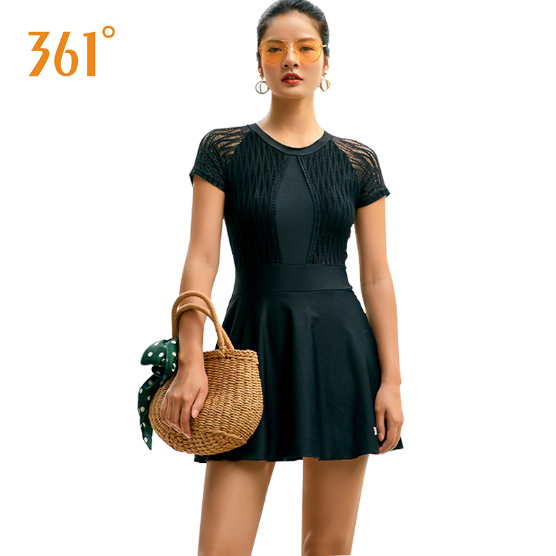 361 Women Short Sleeved Swimsuits Female Push Up Dress Swimsuit One Piece Black Hot Spring Large Size Bathing Suits