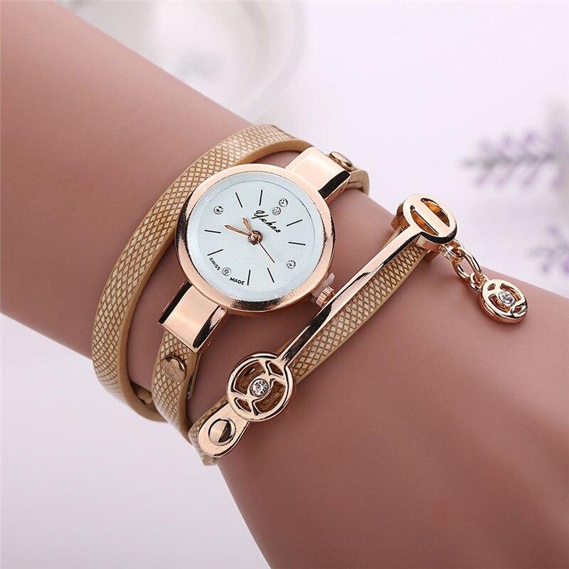 Best Selling Customized Bracelet Watch Women Metal Case Leather Strap Wrist Watch Ladies Girls Woman Clock