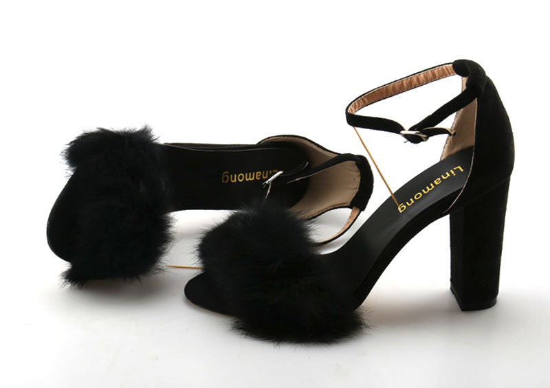 853865f52 ... Strap Women Heels Ladies Faux Dress Sandals High Suede Buckle Soft Fur  Summer Embellished Chunky Outfit ...