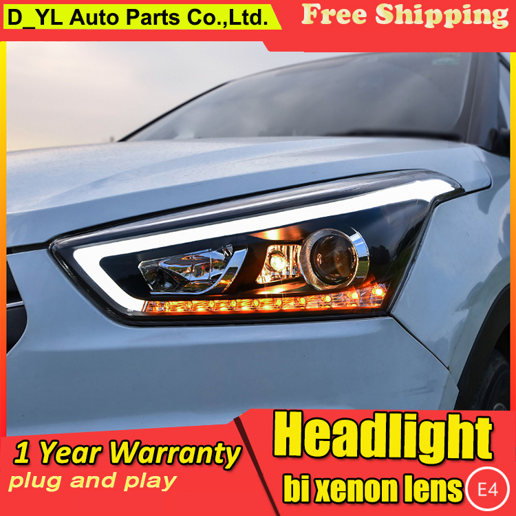Car Styling Headlights for Hyundai IX25 2015 19 LED Headlight for Creta Headlamp LED Daytime Running