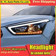 Автомобильный Стайлинг головной светильник s для hyundai IX25-19 светодиодный головной светильник для Creta налобный светодиодный дневной ходовой светильник светодиодный DRL Bi-Xenon HID
